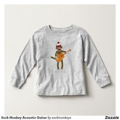 Sock Monkey Acoustic Guitar Toddler T-shirt on Zazzle  @zazzle #zazzle #tshirt #shirt #funny #cute #monkey #cartoon #drawing #digital #acoustic #guitar #pop #culture #buy #shop #sale #gift #idea #shopping #present #fun #sweet #awesome  #toddler #baby #boy #girl #fashion #style