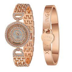 c332bb382ad Xinge Watches Mosunx(TM) Women Brand Luxury Gold Rhinestone Bangle Watch  And Bracelet Set Girlfriend Gift ( Gold)