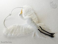 Beaded Egret Ornament Egret Suncatcher Egret by AlulaCreations