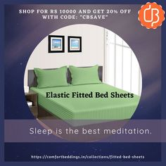 Want to make a smooth surface on your bed then select elastic fitted bed sheets. Fitted sheets are easily tucked on your mattress and give you luxury and comfortable sleeping experience. Comfort Beddings is one stop solution for your all need of elastic bed sheets. We have exclusive collection of fitted bed sheets available in various sizes and solid and stripe design with 600 and 1000 TC. King Size Bed Sheets, Double Bed Sheets, Fitted Bed Sheets, Yellow Bedding, Black Bedding, Most Comfortable Sheets, Ruffle Duvet, Bed Sheets Online, Egyptian Cotton Bedding