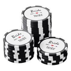 Bride Tribe Red Heart Arrow Black & White Striped Poker Chip Set - bridal shower gifts ideas wedding bride