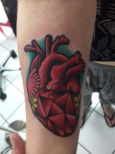 Geometric anatomical heart tattoo done by Kendal Harkey at Golden Lotus in North Little Rock, Arkansas.