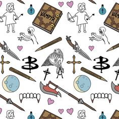 Buffy Doodles- white Coffee Mug by AvidPedestrian - 11 oz Buffy Tattoo, Slayer Tattoo, Tv Tattoo, Doodle Tattoo, Spike Buffy, Buffy The Vampire Slayer, Tattoo Sleeve Filler, Sleeve Tattoos, Nerd Love