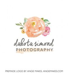 Watercolor Floral Logo. Premade Logo With Pretty Watercolor Flowers | angiemakes.com