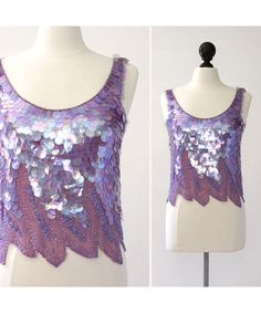 Decorated with iridescent plastic discs and purple beads. Sleeveless with a deep scoop Little Mermaid Costumes, The Little Mermaid, Disco Fashion, Silk Fabric, Style Icons, Iridescent, 1980s, Lavender, Plastic
