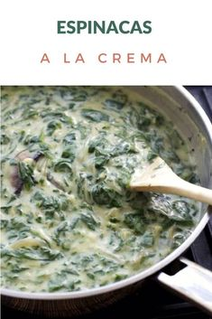 Simple recipe for Creamy Spinach, made with white sauce. They can use fresh or frozen spinach. Spinach Recipes, Vegetable Recipes, Vegetarian Recipes, Cooking Recipes, Healthy Recipes, White Sauce Recipes, Chilean Recipes, Pasta Sauce, Creamy Spinach