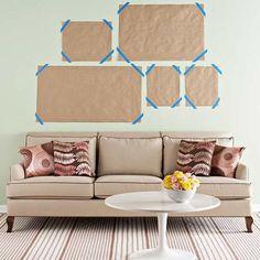 Kraft paper wall gallery design- asymmetrical display