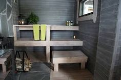 huvila ja huussi Finnish Sauna, Summer Cabins, Spa Rooms, Saunas, Waterfront Homes, Cottage, Shelves, Sauna Ideas, Finland