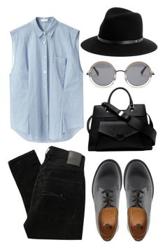 """""""blu, gry, blck"""" by livyyrosee ❤ liked on Polyvore featuring Acne Studios, Nobody Denim, rag & bone, Dr. Martens, Proenza Schouler and The Row"""