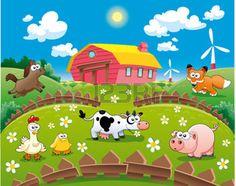 moulin à vent: Illustration de la ferme. Drôle de dessin animé Illustration