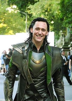 "Tom Hiddleston, in costume as Loki, filming ""Marvel's 'The Avengers'"" in Central Park, New York City."