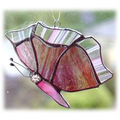 Butterfly Suncatcher Stained Glass Pink Closed Wing