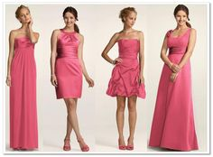 Mix-and-Match Bridesmaid Dresses at David's Bridal I really like that there all different styles. If I do this I only need to pick a color!!