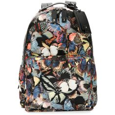 Valentino Camu Butterfly Printed Nylon Backpack (£1,880) ❤ liked on Polyvore featuring men's fashion, men's bags, men's backpacks and black