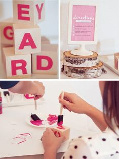 Baby Shower Craft Idea: painted wooden alphabet blocks  {One Charming Party}