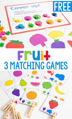 Kids will enjoy playing with these Free printable matching games for preschool. This Fruit memory game, Fruit Cover up grid game, and Fruit matching clip cards will make great additions in your class to your healthy eating or food groups theme. #preschool #kindergarten #prek #freeprintable #matching #lifeovercs #iteachtoo Free Preschool, Preschool Learning, Literacy Activities, Fun Learning, Toddler Activities, Preschool Activities, Preschool Kindergarten, Preschool Food, Teaching