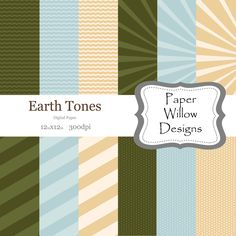 Earth Tones-(12)-12x12-Digital Paper-Instant Download-Blue-Skies-Green-Grass-Yellow-Sun-Dots-Stripes-Bursts by PaperWillowDesigns on Etsy