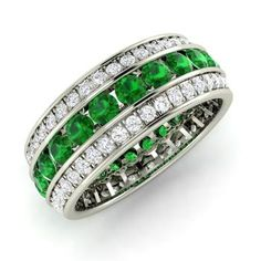 Round Emerald  and Diamond  Wedding Ring in 14k White Gold