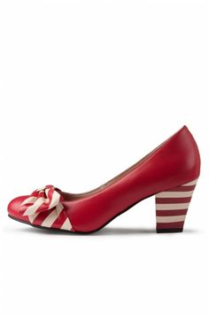 Lola Ramona - Elsie Red Striped Bow leather pumps