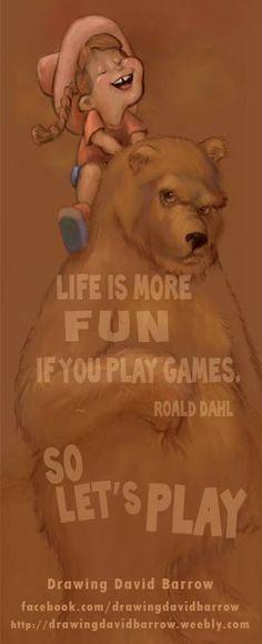 Let's Play! You can own this print #play #bear #kids #fun #humorous #drawingdavidbarrow