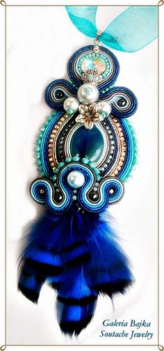 "Galeria Bajka Soutache Jewelry: Necklace ""Dream catcher Twilight"""