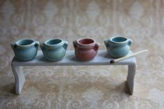 Tiny ceramic pots for dollhouse 1:12 from Katis miniature ceramics 1:12 by DaWanda.com