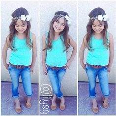 Kid Spring/Summer Fashion-Little Girl Outfits Little Girl Outfits, Cute Outfits For Kids, Little Girl Fashion, Cute Little Girls, Toddler Fashion, Toddler Outfits, Cute Kids, Kids Fashion, Trendy Fashion
