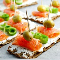 Smoked Salmon, Cream Cheese, Olives & Cucumber on Rye Crispbread.