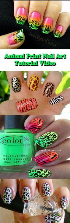 Super cute animal print nail art designs!