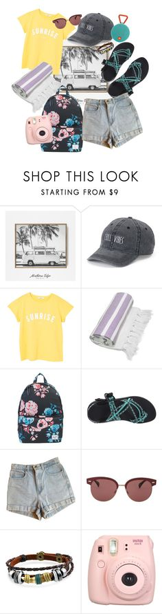 """""""LETS GO!"""" by bstaudacher ❤ liked on Polyvore featuring SO, MANGO, Linum Home Textiles, Herschel Supply Co., Chaco, American Apparel, Oliver Peoples, Bling Jewelry, Fujifilm and JBL"""