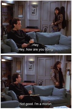 Seinfeld quote - Elaine tells Jerry she's a moron, 'The Abstinence'