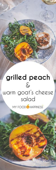 Celebrate summer with this delicious Grilled Peach salad with warm goats cheese rocket and honey-balsamic glaze The ultimate summer salad! Grilled Peach Salad, Grilled Peaches, Warm Goat Cheese Salad, Whole Food Recipes, Healthy Recipes, Food Club, Balsamic Glaze, Healthy Eating, Healthy Food