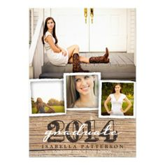 Country Rustic Wood Graduation 2014 Invitation $1.90 Rustic, weathered wood background and stylish typography sets the stage for an elegant country graduation invitation / announcement. With room for a multi photo collage of your graduate, this design works equally well for either a girl or a boy. All the text on the back can be easily customized for a party invitation (as shown) or to create an announcement only.