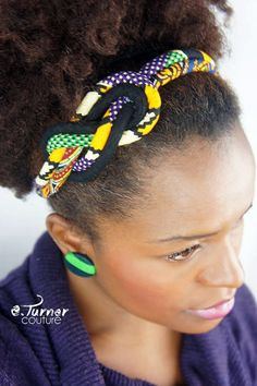 Multicolored Sailors Knot Headband - African Headband - Africain Fabric Headband - Mardi Gras Headband - purple gold/yellow and green African Necklace, African Jewelry, Fabric Necklace, Fabric Jewelry, African Attire, African Dress, Bijoux Masai, African Accessories, Hair Accessories