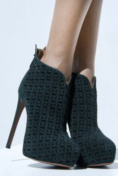 Suede, lazer-cut ankle boots, all by Azzedine Alaia