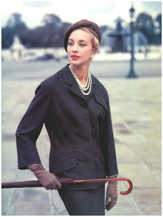Marie-Thérèse in Pierre Balmain Jolie Madame Suit, photographed by Tom Kublin, 1956