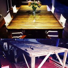 Wakoola wool classing table...constructed 1932, restored 2016. #wooltable #outdoordining #upcycle #woolclassingtable #upcycledfurniture #resto Dining Room, Dining Table, Upcycled Furniture, Outdoor Dining, Outdoor Ideas, Home Kitchens, Restoration, Wool, Garden