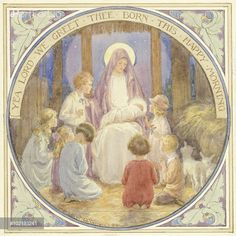 PortForLio - Madonna and Child surounded by children with words: 'Yea Lord We Greet Thee Born This Happy Morning'. Children pray to the new born baby Jesus. Christmas card