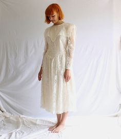 vintage Gunne Sax white lace dress wedding 80s does by shopiverlee