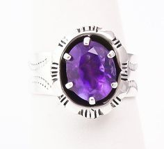 Navajo Sterling Silver Amethyst Ring Size 8