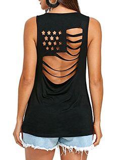 8b4e7acc7d305a Nailyhome Women s USA Flag Design Back Hollow Out Shirts Sleeveless Basic Tank  Tops National Flag