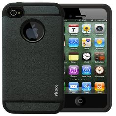 IPhone 4 Case,ykooe (Elegant Series) iPhone 4S Classical Silicone Case Dual Layer Shockproof Armor Black Shell for Apple iPhone 4 4s. Rugged dual layer Case for apple iPhone 4 and 4s. iPhone 4 Case Shockproof provides extra grip prevent iPhone 4 drop and damage. 4S Protection shell, inner honeycomb pattern that absorbs and disperses the shock from drops and bumps. Cases precise cutouts Easy access to iPhone 4 all ports,buttons,cameras,speakers and mics. The layer inside is silicone…