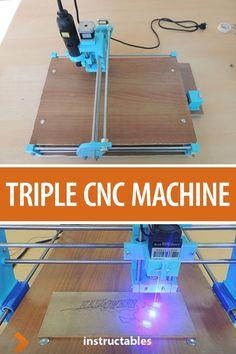 printer design printer projects printer diy Kendin yap Kendin yap Create a CNC machine that can engrave with a Dremel, laser cut, and draw. Diy Cnc Router, Routeur Cnc, Cnc Router Plans, Arduino Cnc, Diy Bandsaw, Hobby Cnc, Woodworking Shop, Woodworking Projects, Popular Woodworking