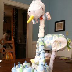 Stork and basket made out of diapers