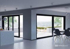 modern open space whit grey windows #hst #oknoplast #windows #design #decor #home #hemoedecor #livingroom #openspace #greywindows