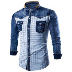 25.34$  Watch here - http://dib30.justgood.pw/go.php?t=204213206 - Denim Insert Pocket Floral Grid Shirt
