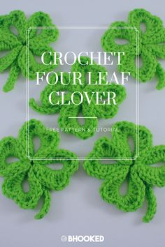 Crochet a four leaf clover as a last minute gift idea for your coworkers and to prevent yourself from getting pinched on St. Crochet Motif Patterns, Tatting Patterns, Crochet Appliques, Dress Patterns, Crochet Leaves, Crochet Flowers, Doilies Crochet, Quick Crochet, Free Crochet