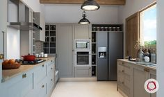 12 Grey Kitchens That Are Drop Dead Gorgeous L Shaped Kitchen Designs, Grey Kitchen Designs, Luxury Kitchen Design, Apartment Interior, Kitchen Interior, Kitchen Decor, Kitchen Ideas, Grey Cabinets, Upper Cabinets