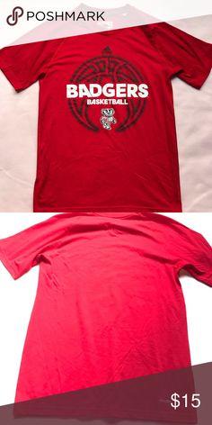 9c793568 Badger basketball T-shirt Red badgers basketball T-shirt unisex size small  adidas Tops