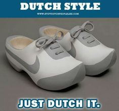 Johny Kelly created a pair of fantastic Nike 'klompen' (old-fashioned Dutch shoes) for the new project. Photo Humour, Nike Air Max, Funny Shoes, Weird Shoes, Basket Nike Air, Baskets Nike, Sport Nike, Nike Free Runners, Wooden Clogs